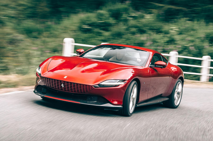 Ferrari Roma 2020 road test review - cornering front