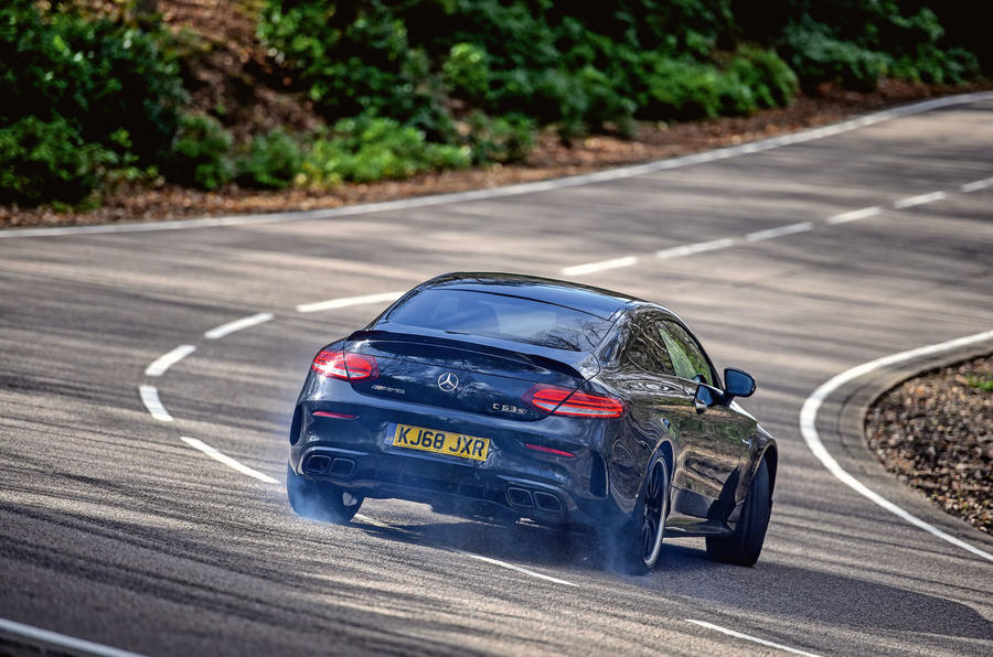 Mercedes-AMG C63 Coupé 2019 road test review - drift rear