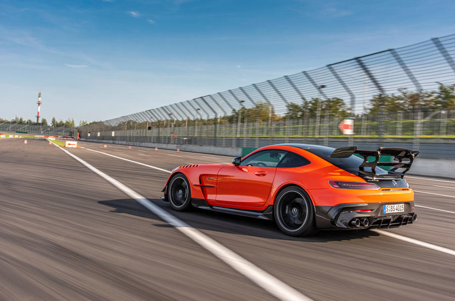 Mercedes-AMG GT Black Series road test review - on track rear