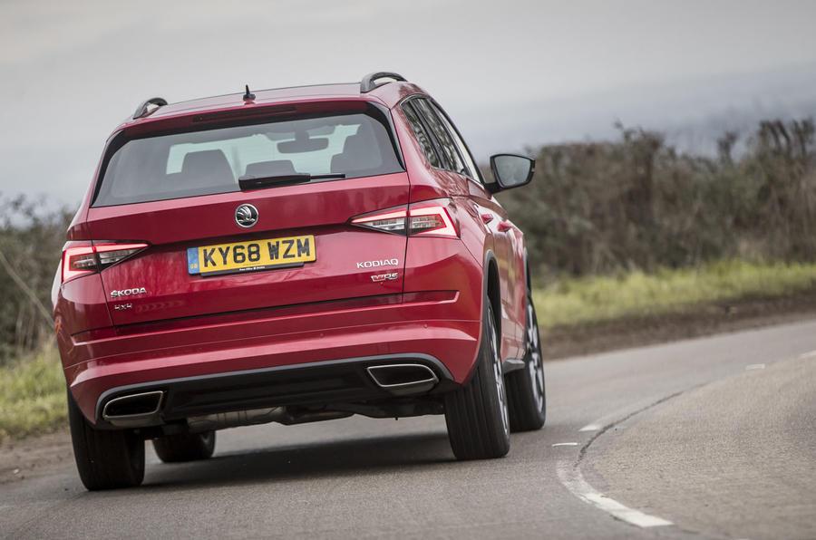Skoda Kodiaq vRS 2019 road test review - on the road rear
