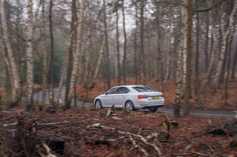 Skoda Superb iV 2020 road test review - on the road rear