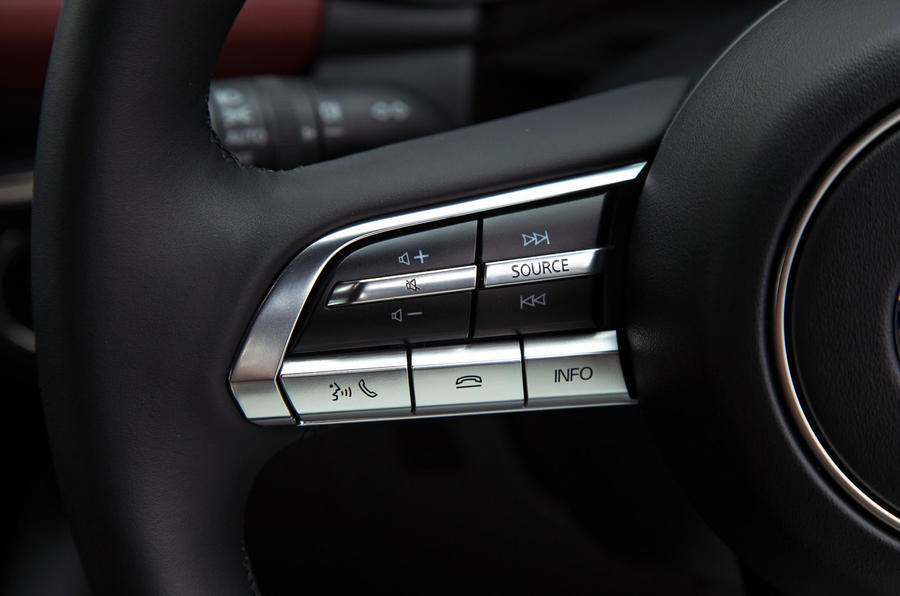 Mazda 3 Skyactiv-X 2019 road test review - steering wheel buttons