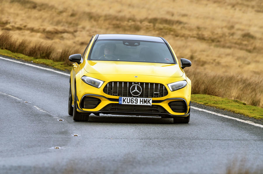 Mercedes-AMG A45 S 4Matic+ 2020 road test review - on the road nose