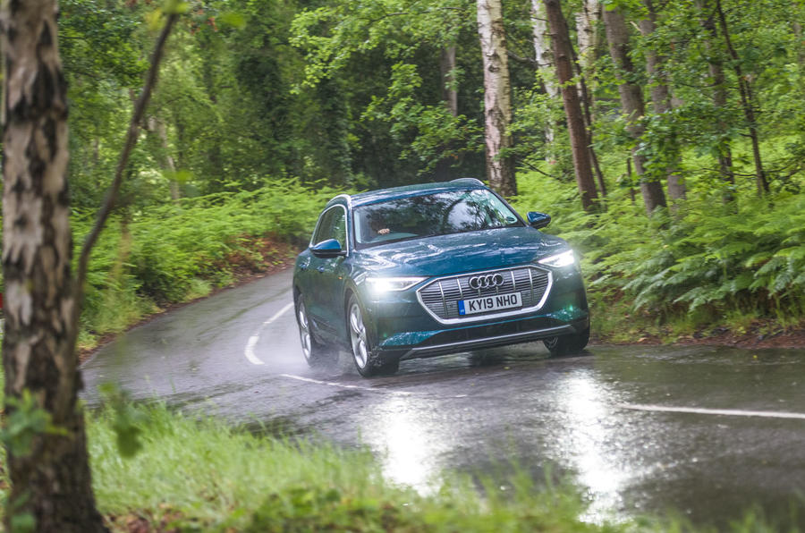 Audi E-tron 55 Quattro 2019 road test review - cornering front