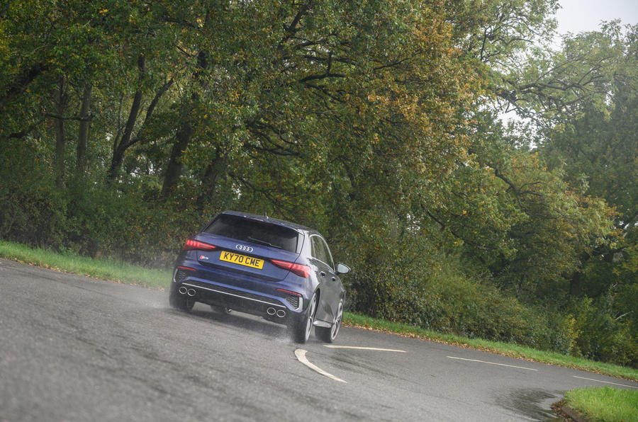 Audi S3 Sportback 2020 road test review - cornering rear