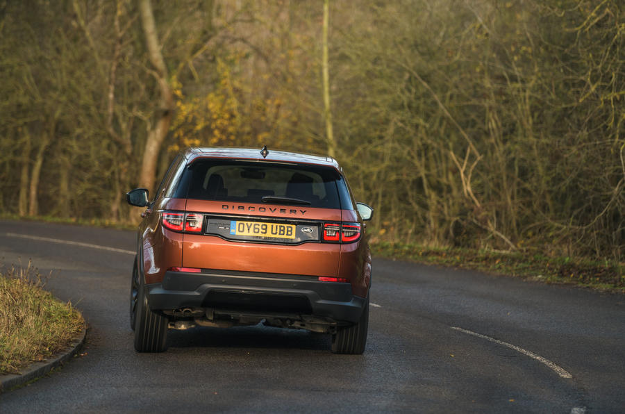 Land Rover Discovery Sport 2020 road test review - cornering rear