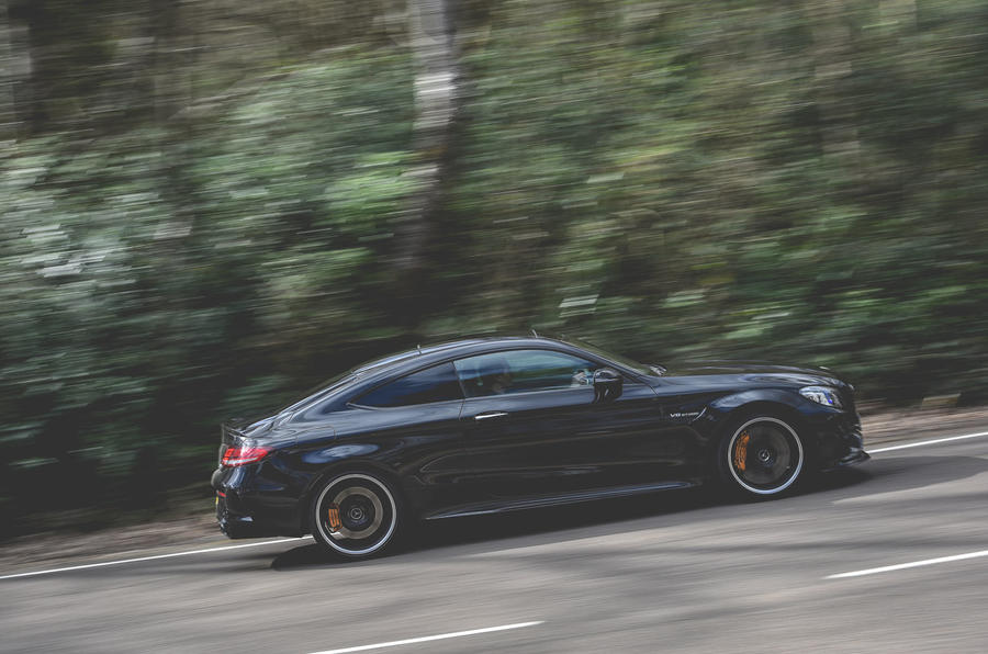 Mercedes-AMG C63 Coupé 2019 road test review - on the road side