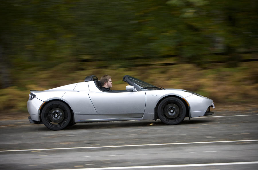 Tesla Roadster Sport on the track