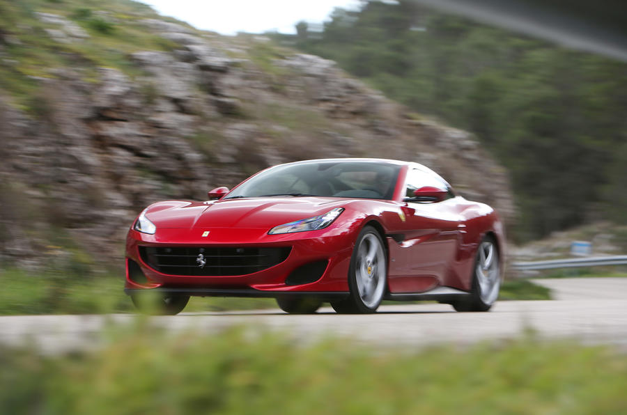 Ferrari Portofino review on the road front angle