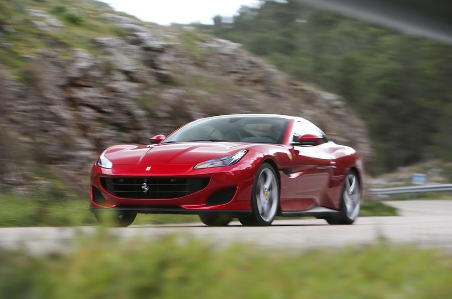 Ferrari Portofino review on the road front angle