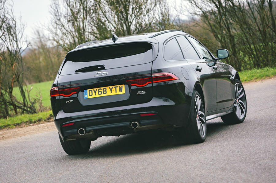 Jaguar XF Sportbrake 2019 road test review - cornering rear