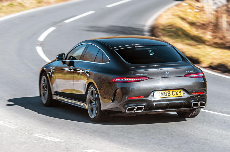 Mercedes-AMG GT four-door Coupé 2019 road test review - cornering rear