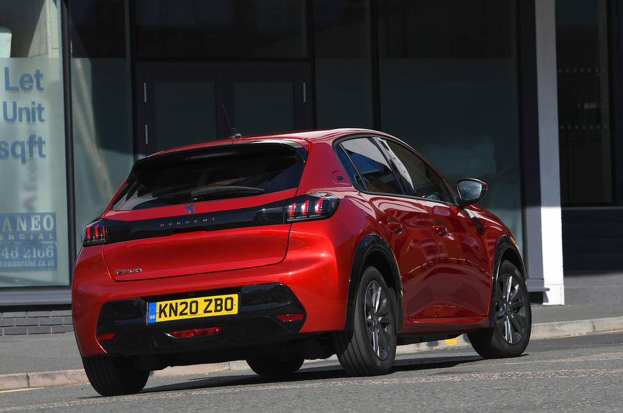 Peugeot e-208 2020 road test review - on the road rear