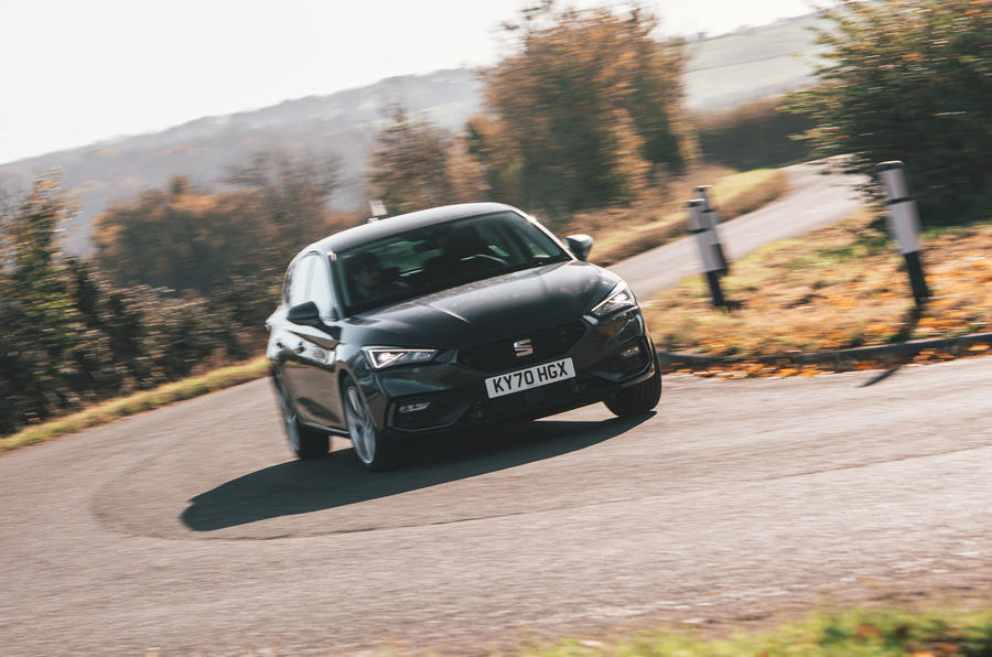 Seat Leon eHybrid 2020 road test review - cornering front