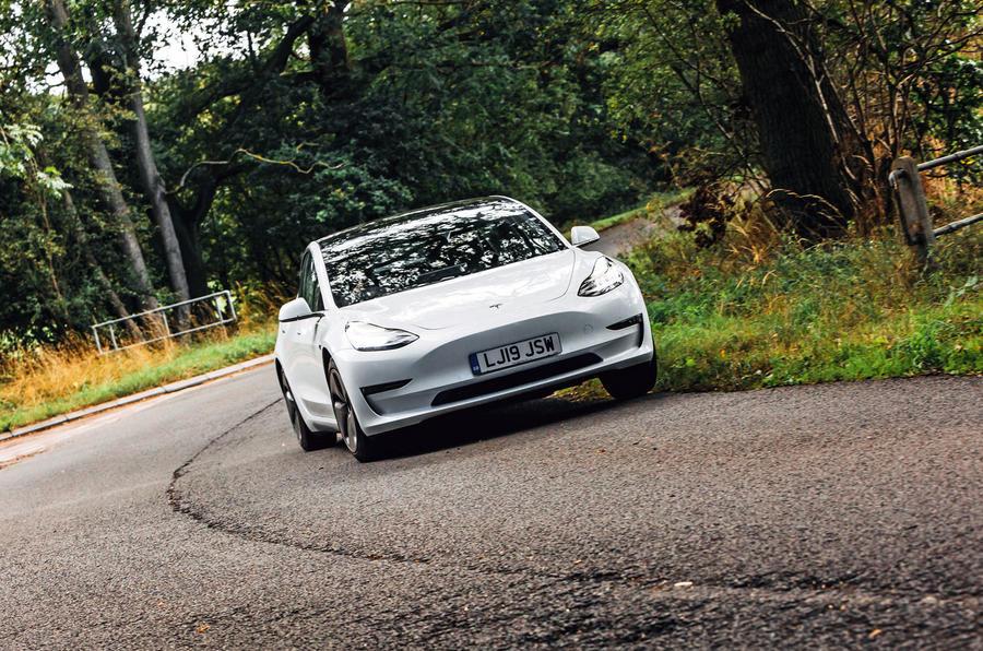 Tesla Model 3 road test - cornering front