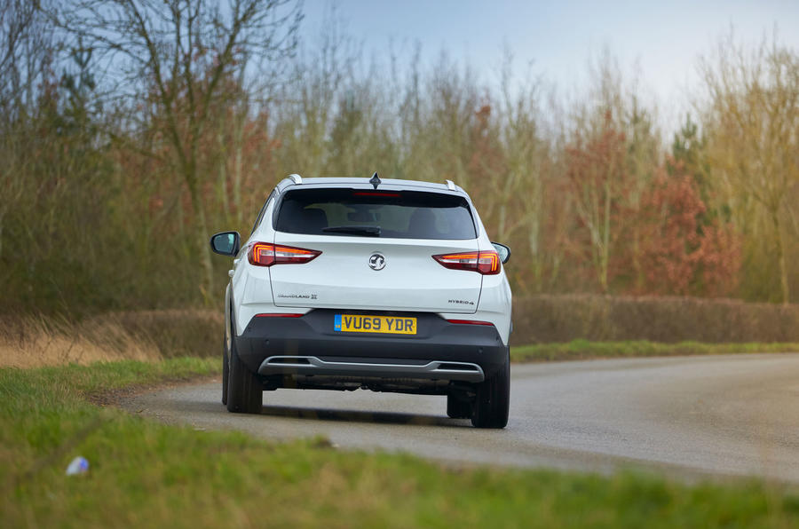 Vauxhall Grandland X Hybrid4 2020 road test review - cornering rear