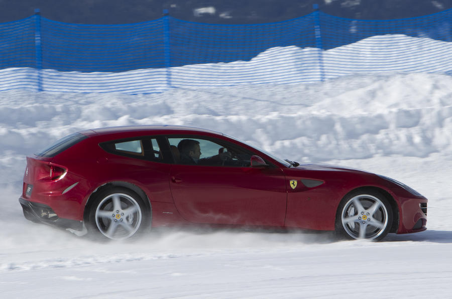Ferrari FF four-wheel drive on snow