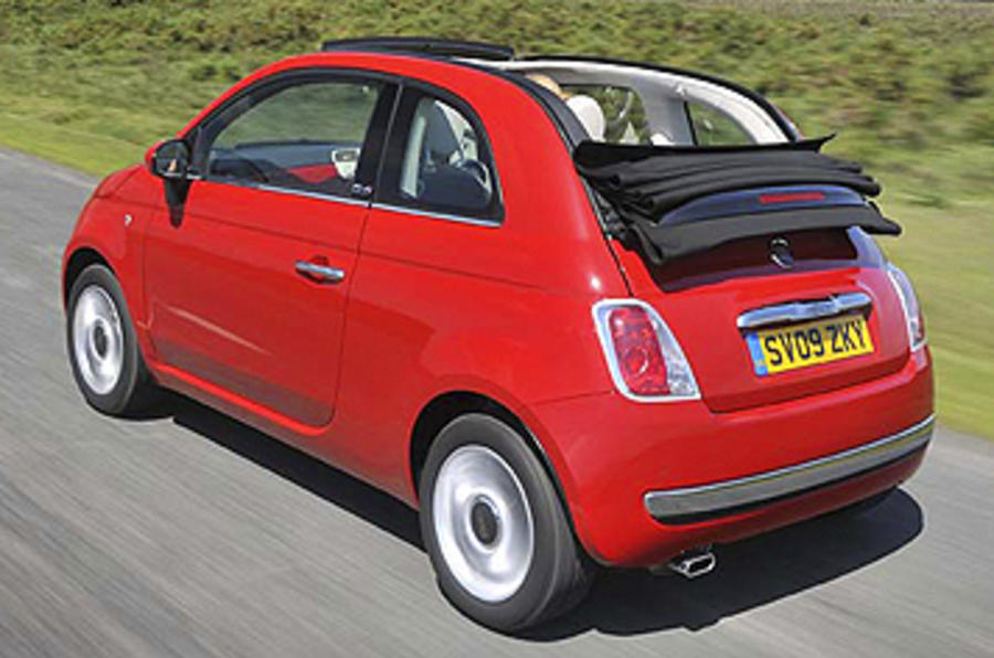 Fiat 500C roof down