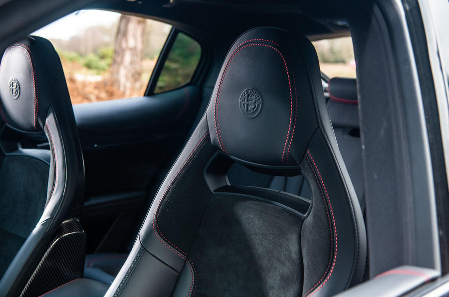 Alfa Romeo Stelvio Quadrifoglio 2019 road test review - front seats