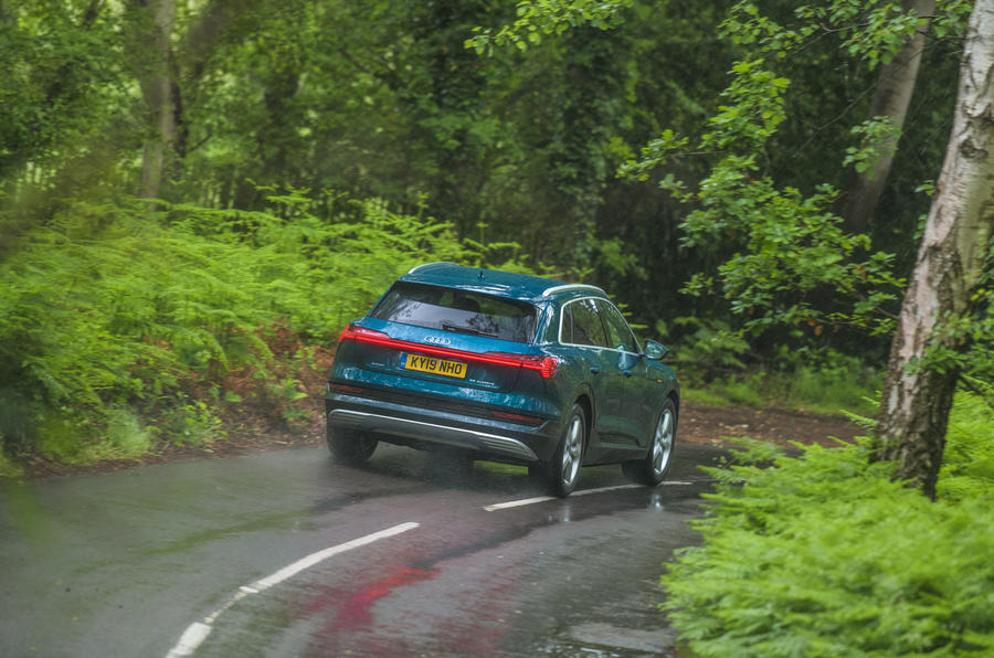 Audi E-tron 55 Quattro 2019 road test review - cornering rear
