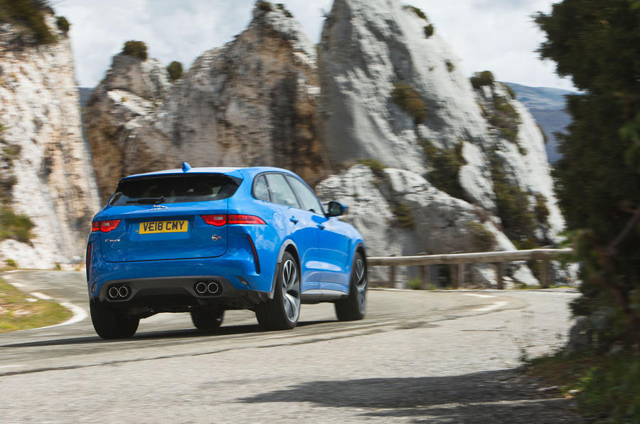 Jaguar F-Pace SVR 2019 first drive review - cornering rear