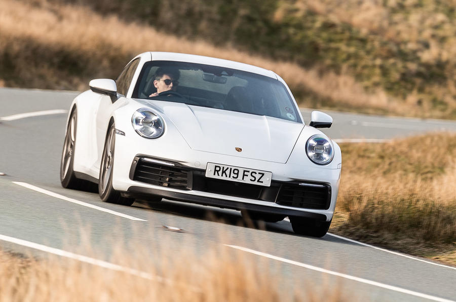 Porsche 911 Carrera S 2019 road test review - cornering front