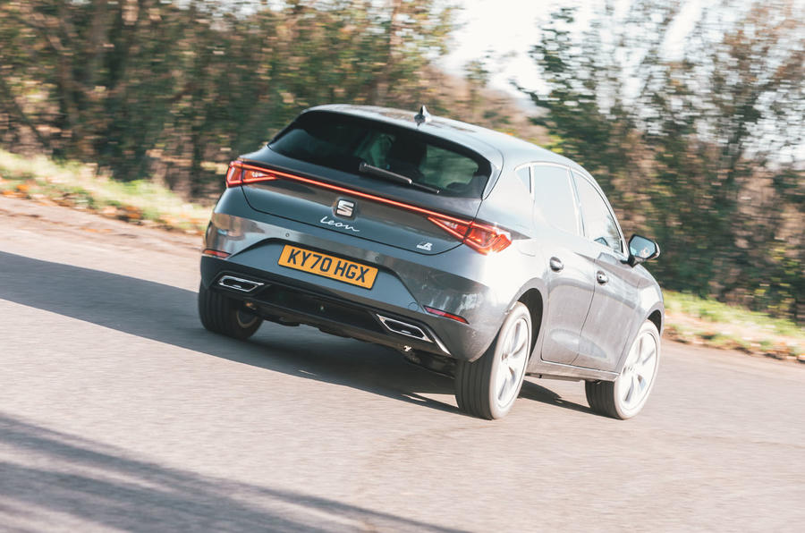 Seat Leon eHybrid 2020 road test review - cornering rear