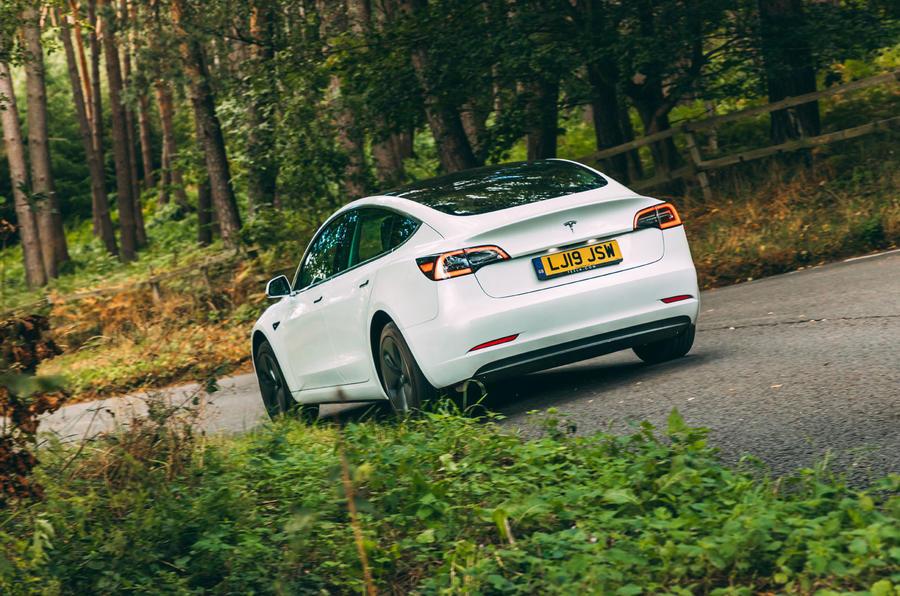 Tesla Model 3 road test - cornering rear