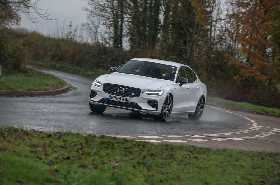 Volvo S60 Polestar Engineered 2020 road test review - cornering front