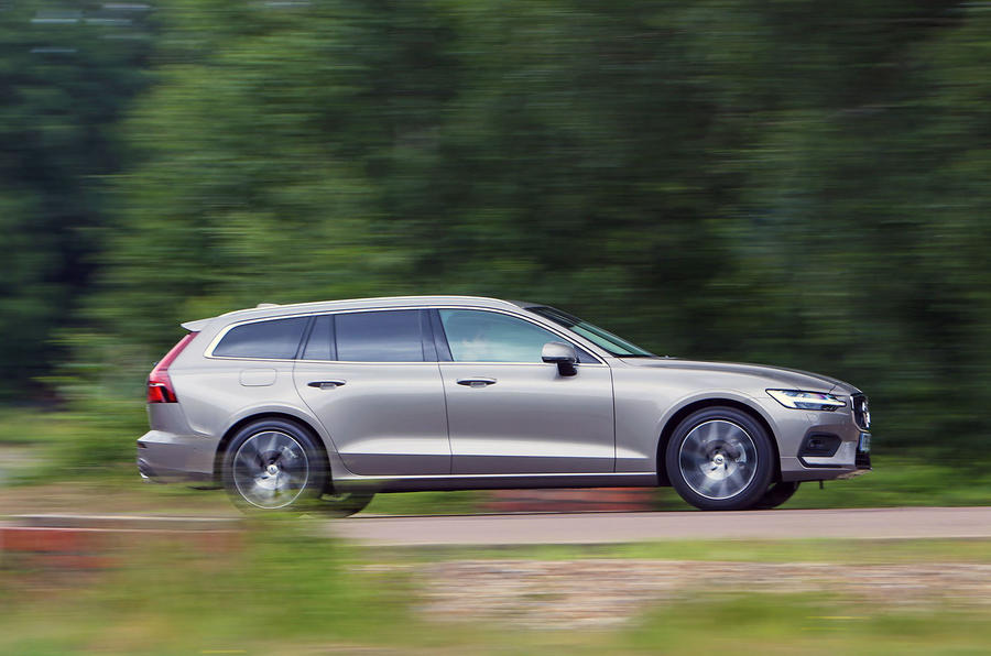 Volvo V60 2018 road test review on the road side