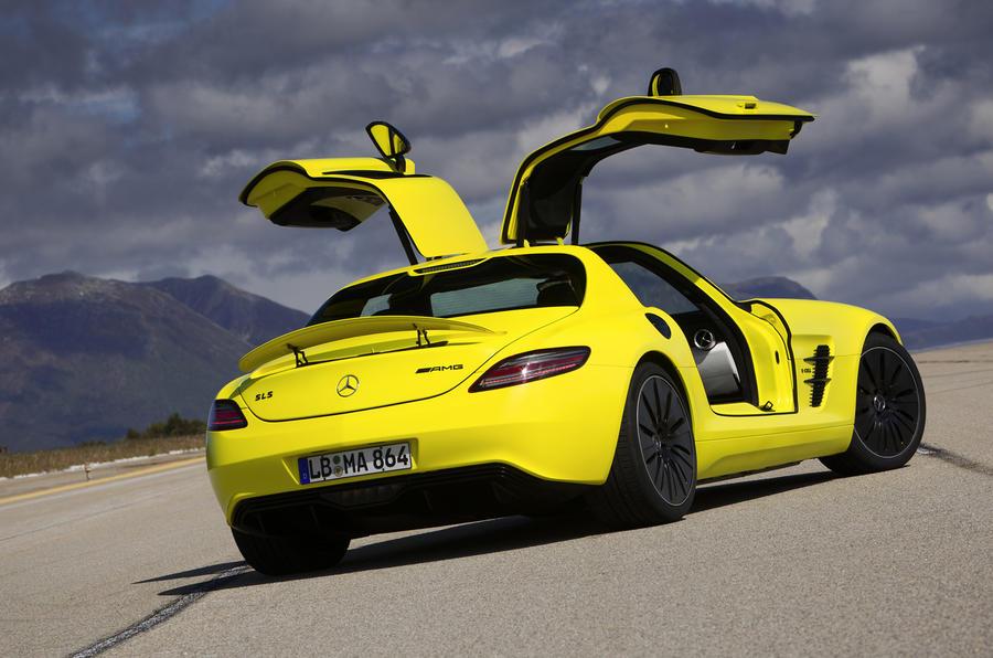 Mercedes-AMG SLS E-Cell gullwing doors opened