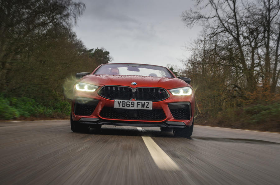 BMW M8 Competition convertible 2020 road test review - on the road nose