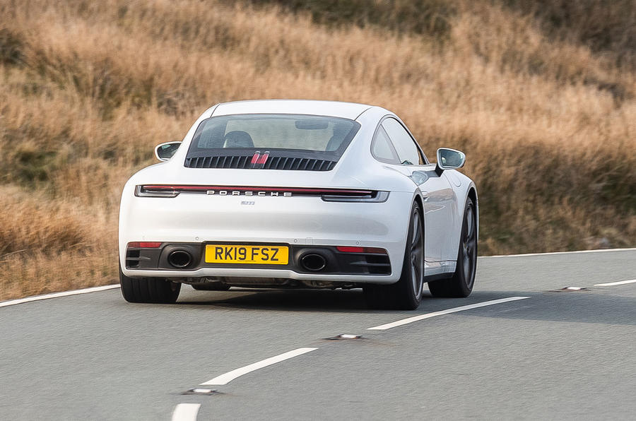 Porsche 911 Carrera S 2019 road test review - cornering rear