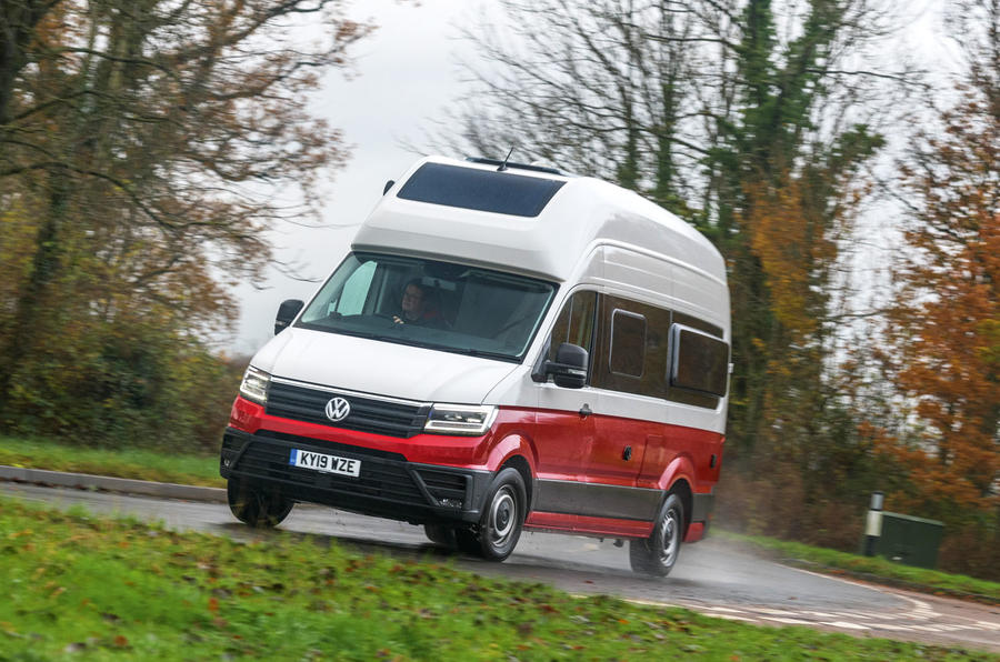Volkswagen Grand California 2020 road test review - cornering front