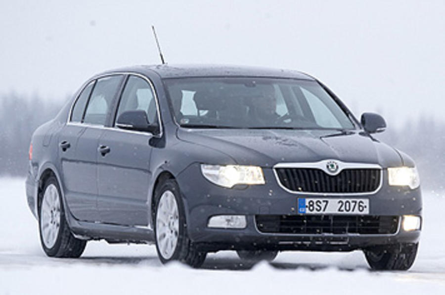 Skoda Superb on ice