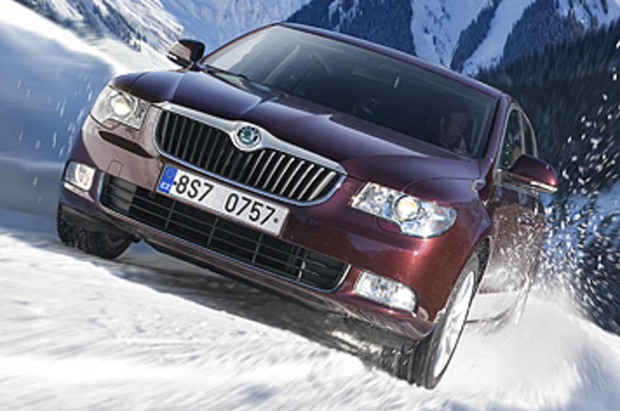 Skoda Superb on snow