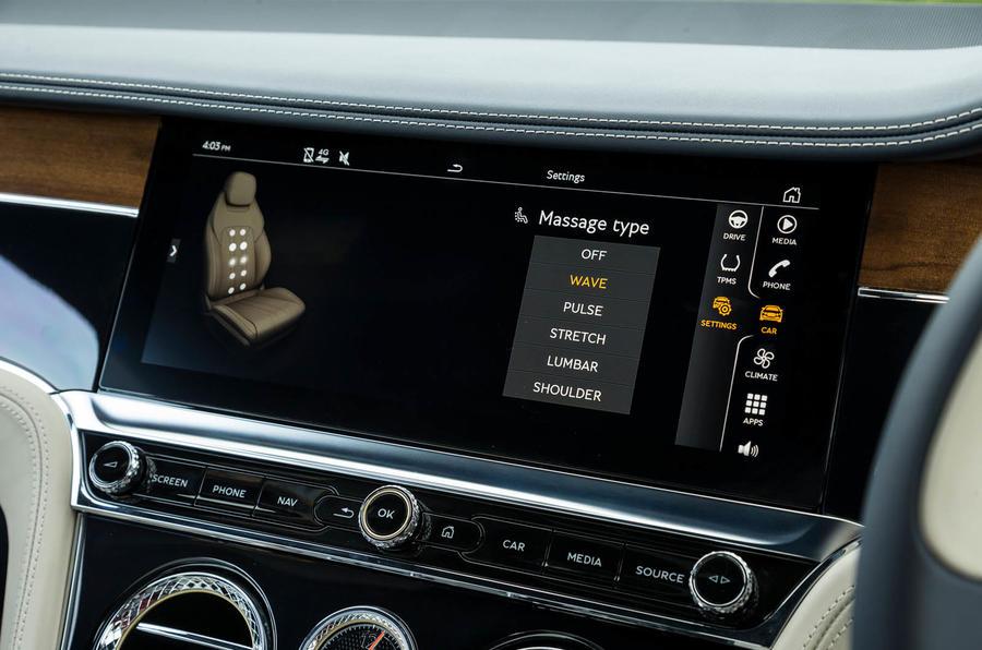 Bentley Continental GT 2018 Autocar road test review massaging seats