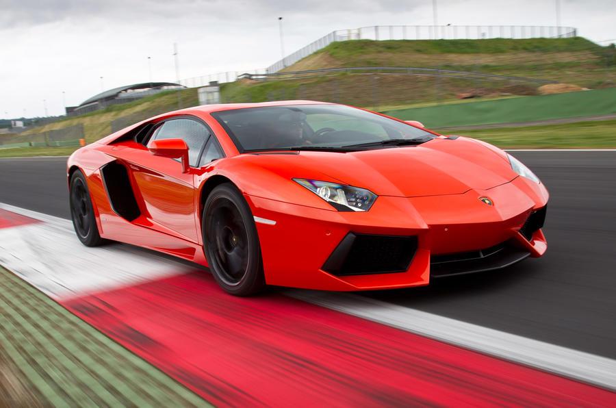 Lamborghini Aventador on track