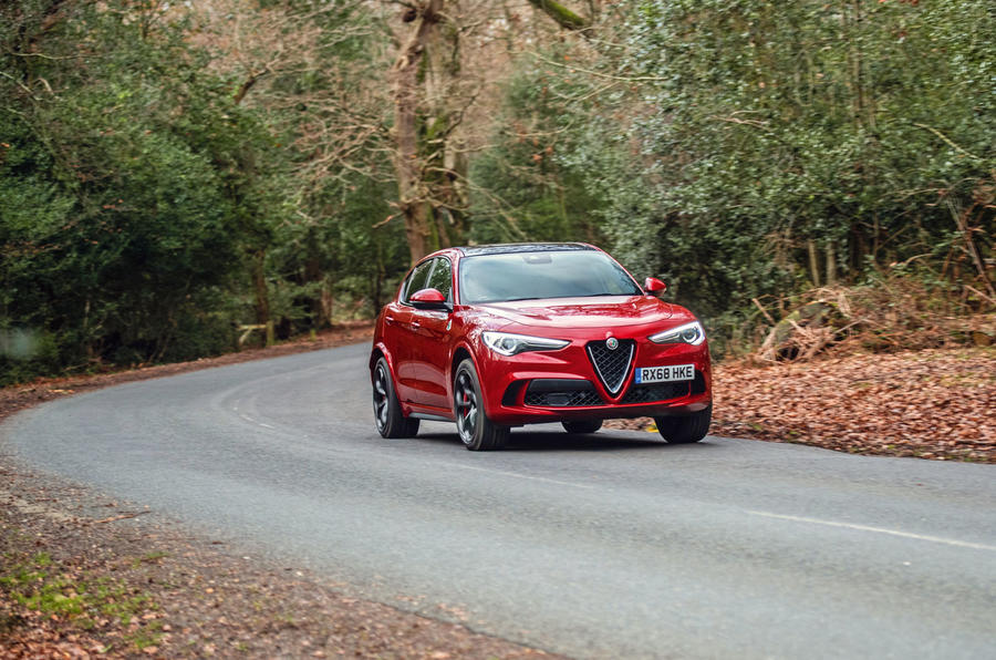 Alfa Romeo Stelvio Quadrifoglio 2019 road test review - cornering front