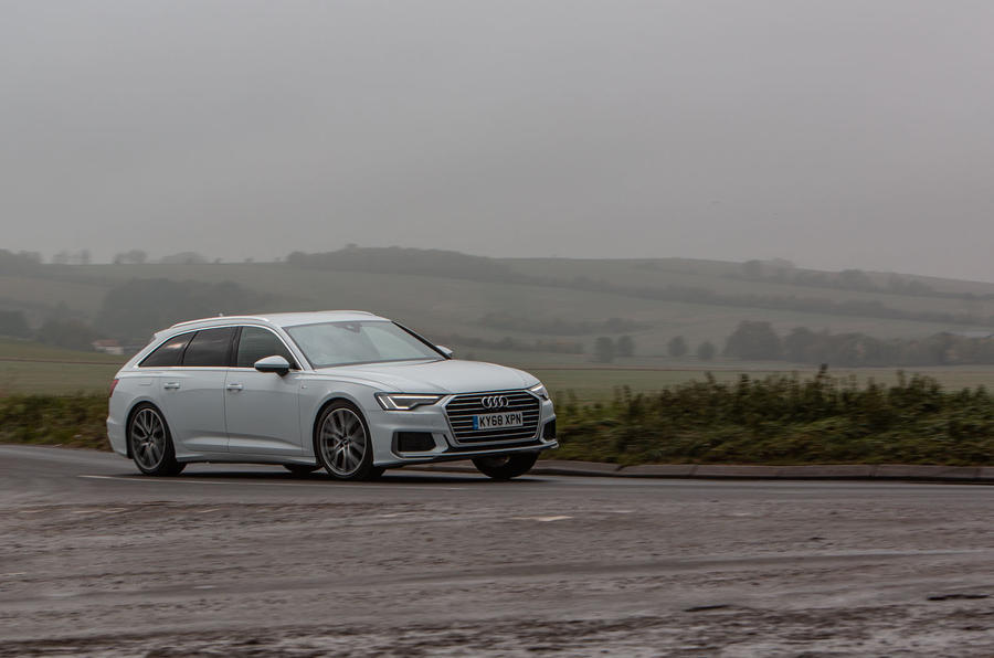 Audi A6 Avant 2018 road test review - cornering front