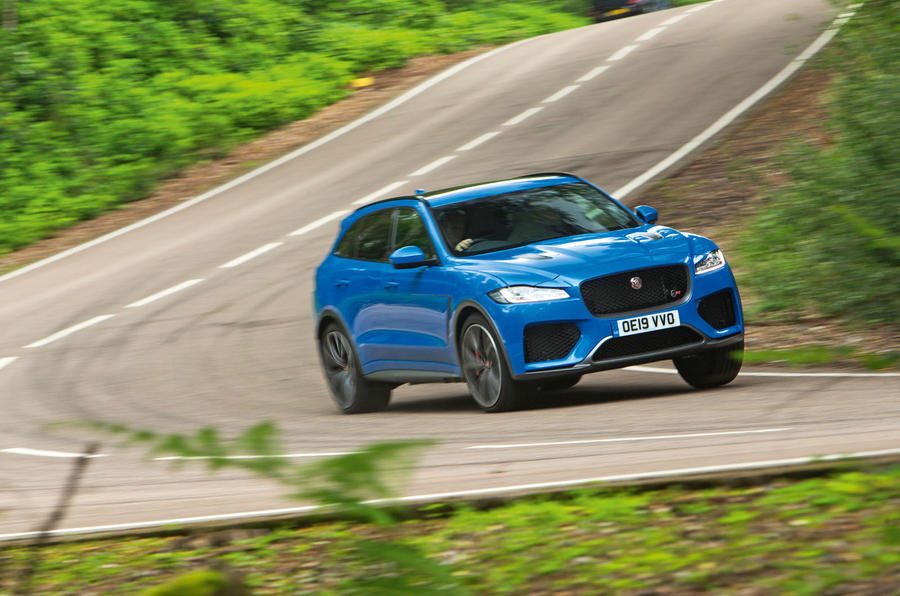 Jaguar F-Pace SVR 2019 road test review - cornering front