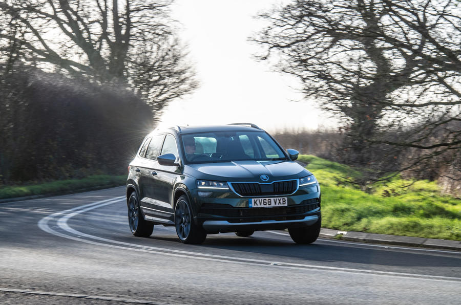 Skoda Karoq Scout 2019 road test review - cornering front