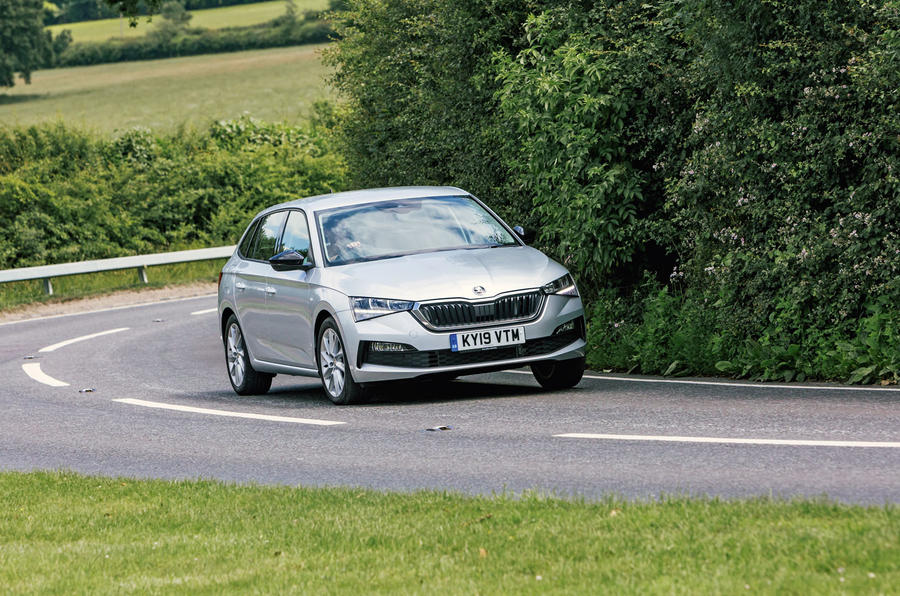 Skoda Scala 2019 road test review - cornering front