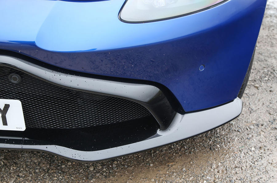 Aston Martin Vantage 2018 review front splitter