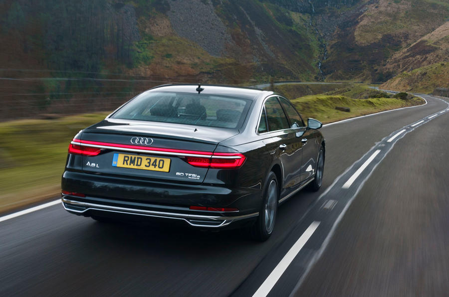 Audi A8 60 TFSIe 2020 road test review - hero rear