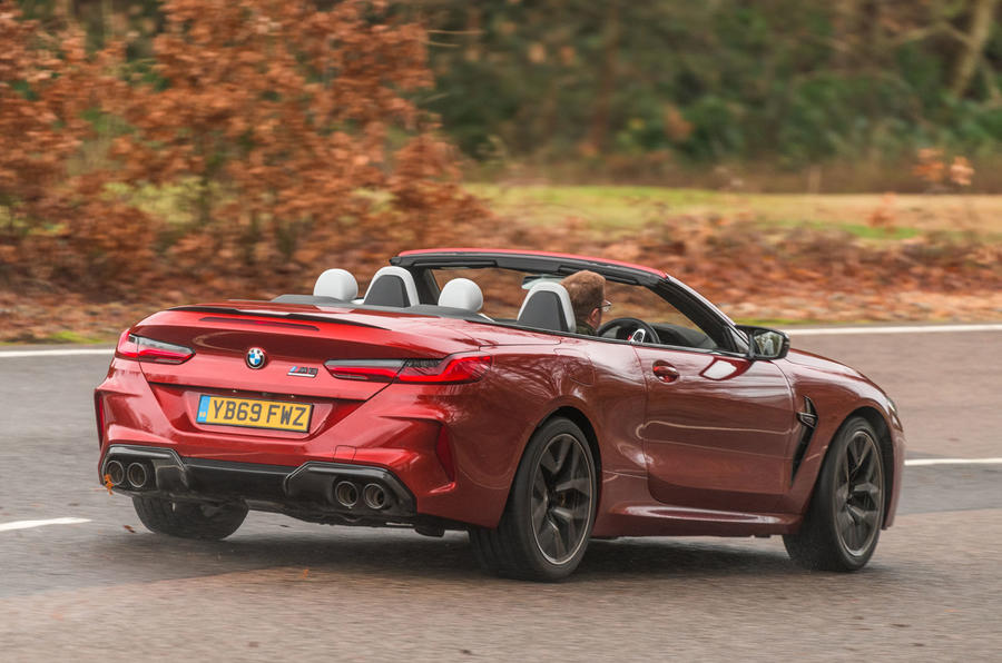BMW M8 Competition convertible 2020 road test review - hero rear