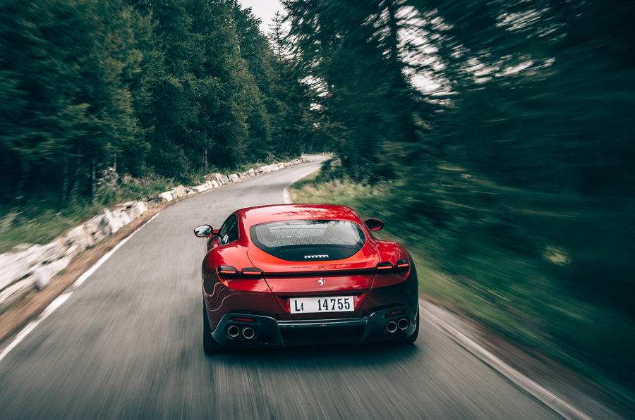 Ferrari Roma 2020 road test review - hero rear