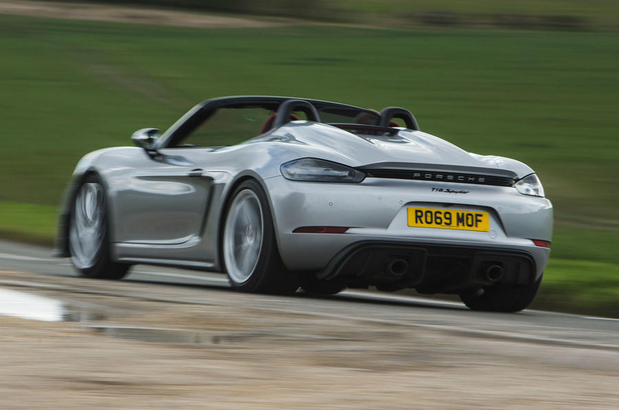 Porsche 718 Spyder 2020 road test review - hero rear