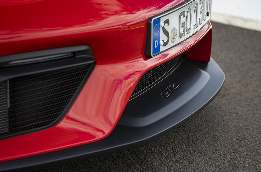 Porsche 718 Cayman GT4 2019 road test review - front splitter