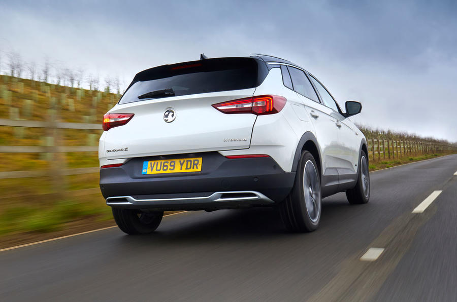 Vauxhall Grandland X Hybrid4 2020 road test review - hero rear